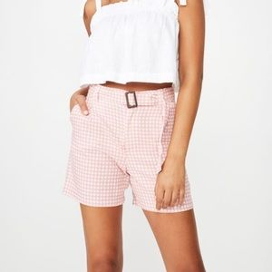 Cotton On Longline Gingham Short - Pink/white